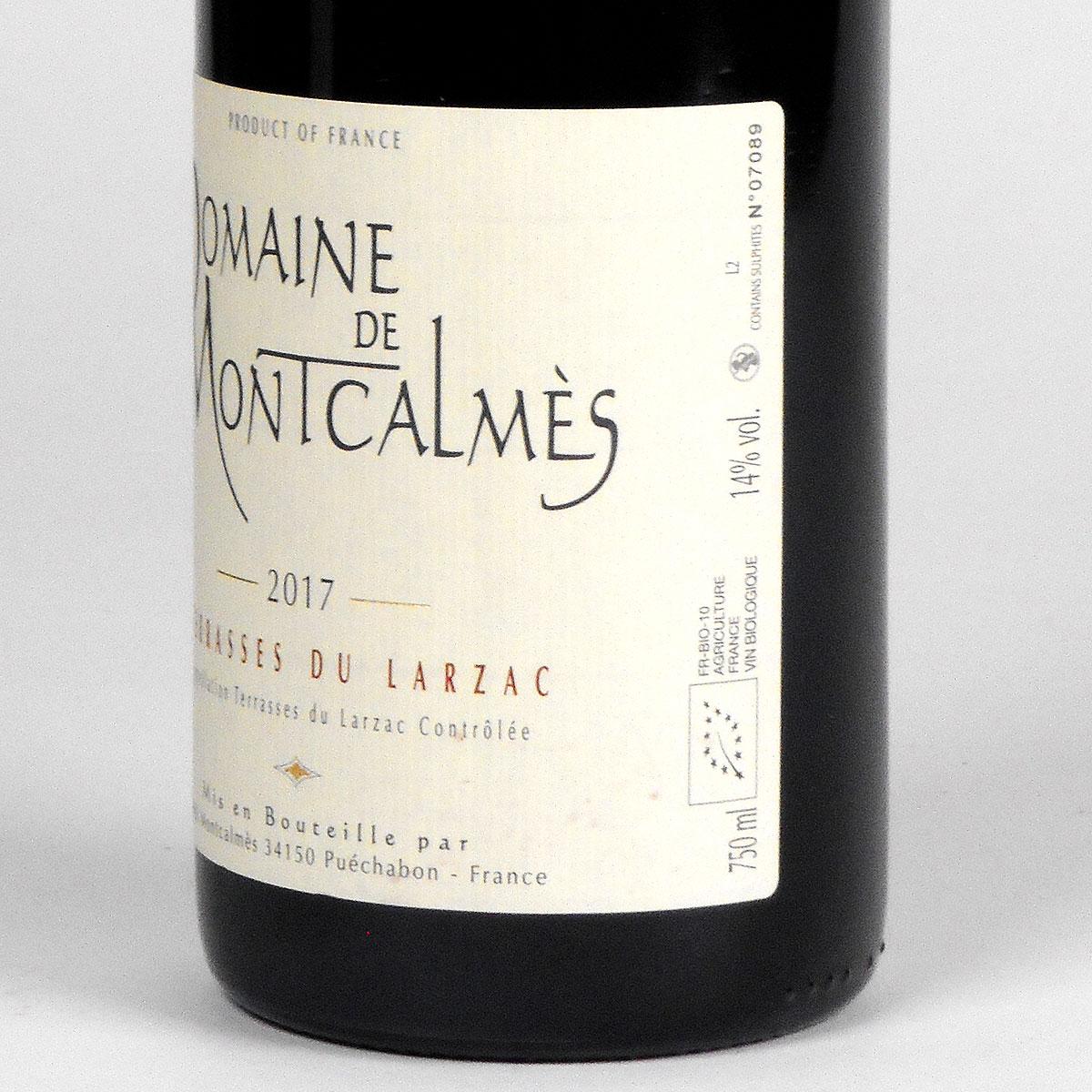 AOC Terrasses du Larzac: Domaine de Montcalmès Rouge 2017 - Bottle Side Label