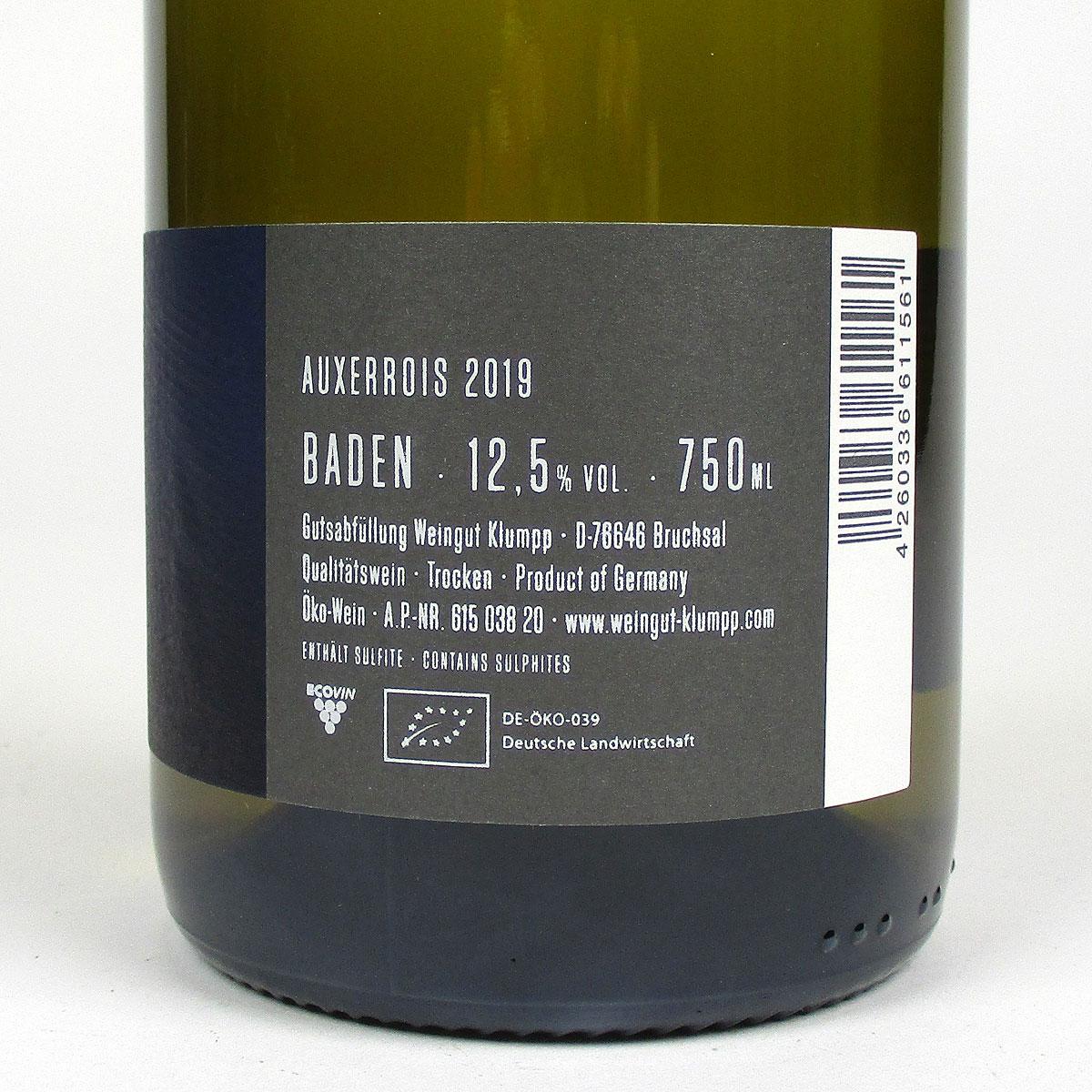 Baden: Klumpp Auxerrois 2019 - Bottle Rear Label