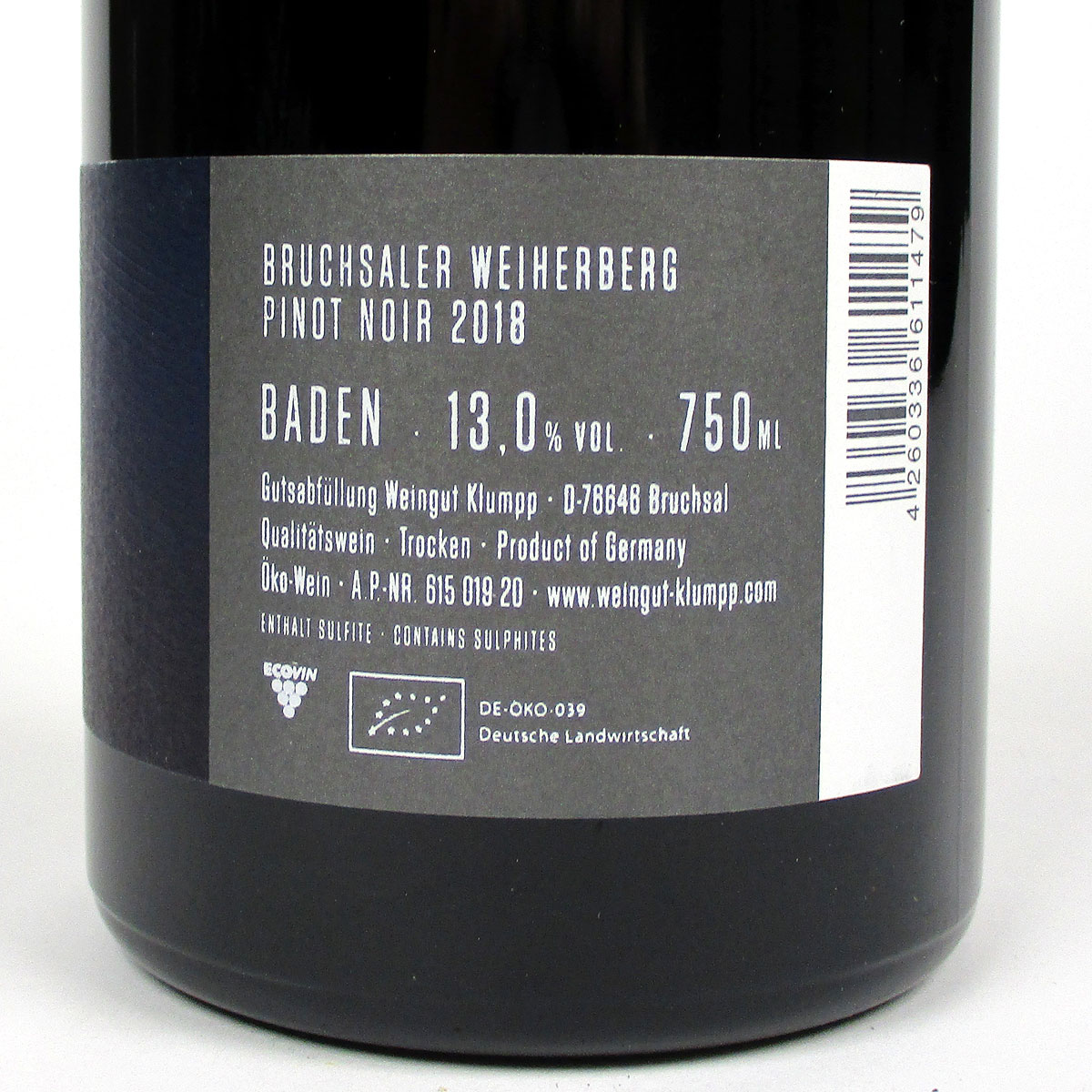 Baden: Klumpp Bruchsaler Weiherberg Pinot Noir 2018 - Bottle Rear Label