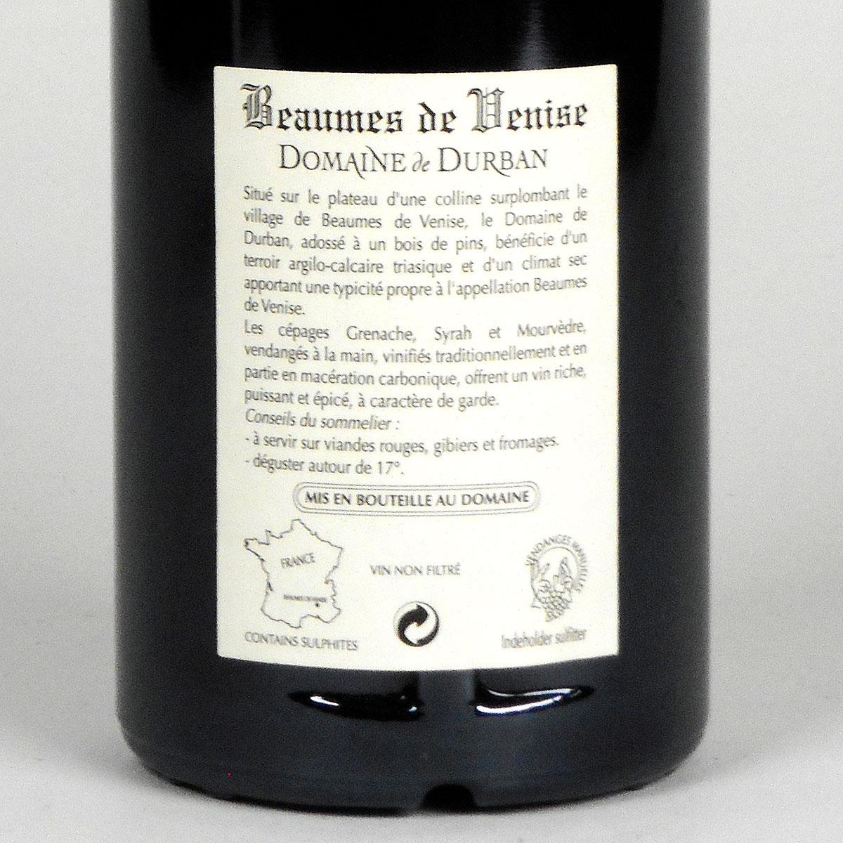 Beaumes de Venise: Domaine de Durban 'Vielles Vignes' 2018 - Bottle Rear Label