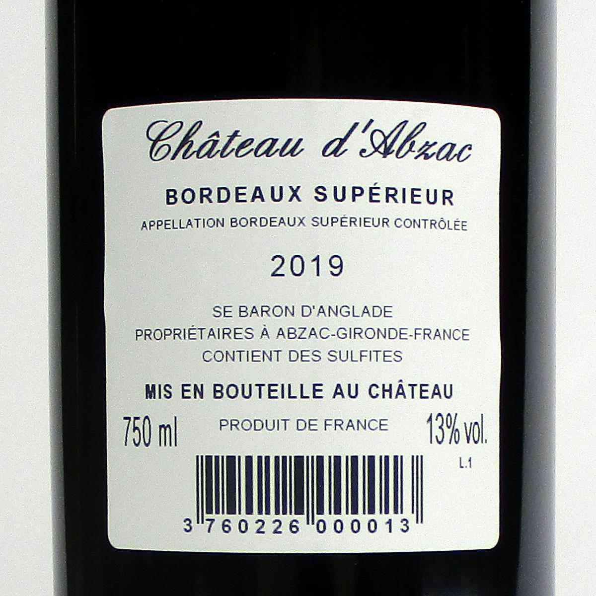 Bordeaux Supérieur: Château d'Abzac 2019 - Bottle Rear Label