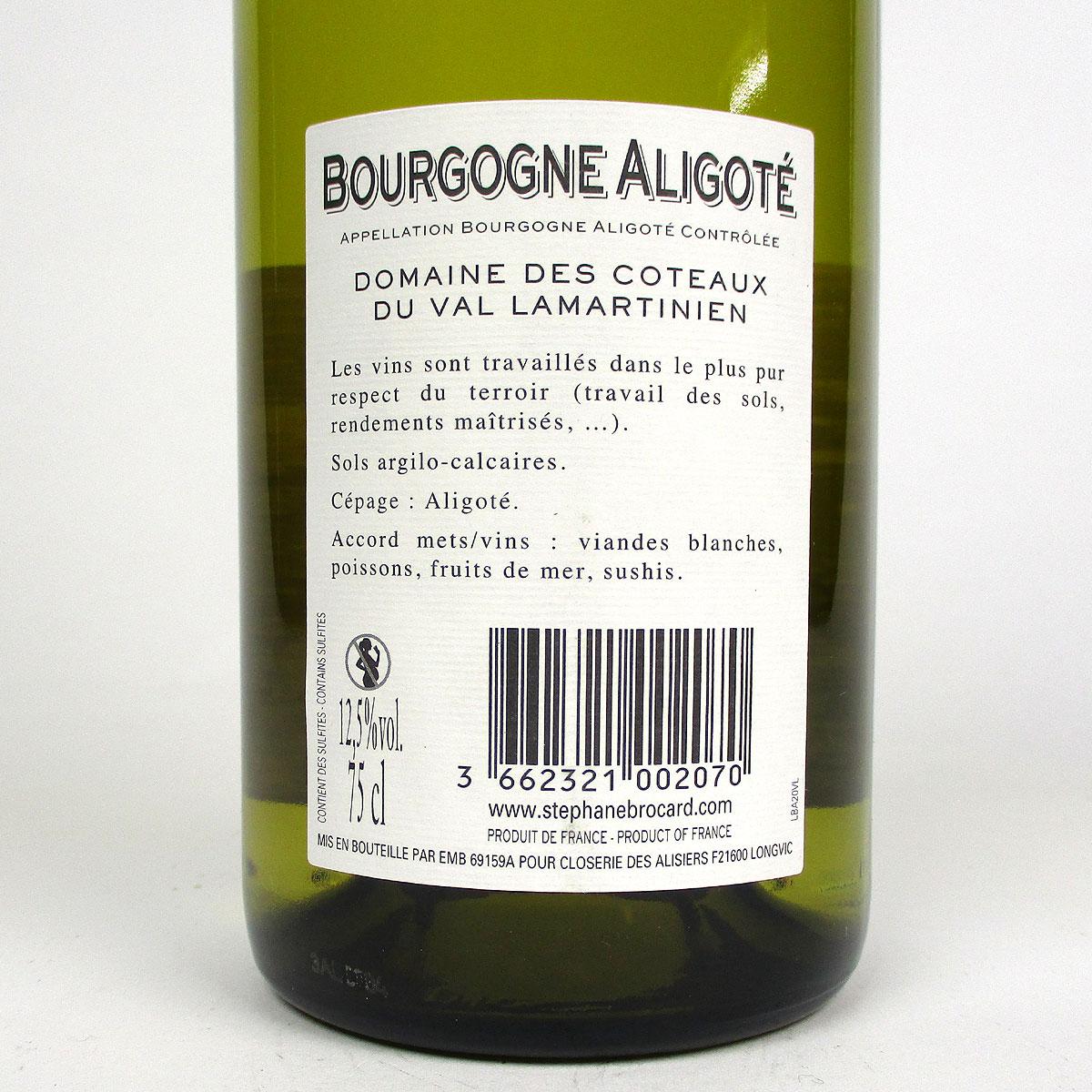 Bourgogne Aligoté: Closerie des Alisiers 2020 - Bottle Rear Label
