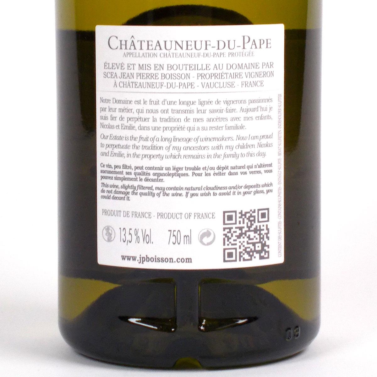 Châteauneuf du Pape: Domaine du Père Caboche Blanc 2020 - Bottle Rear Label
