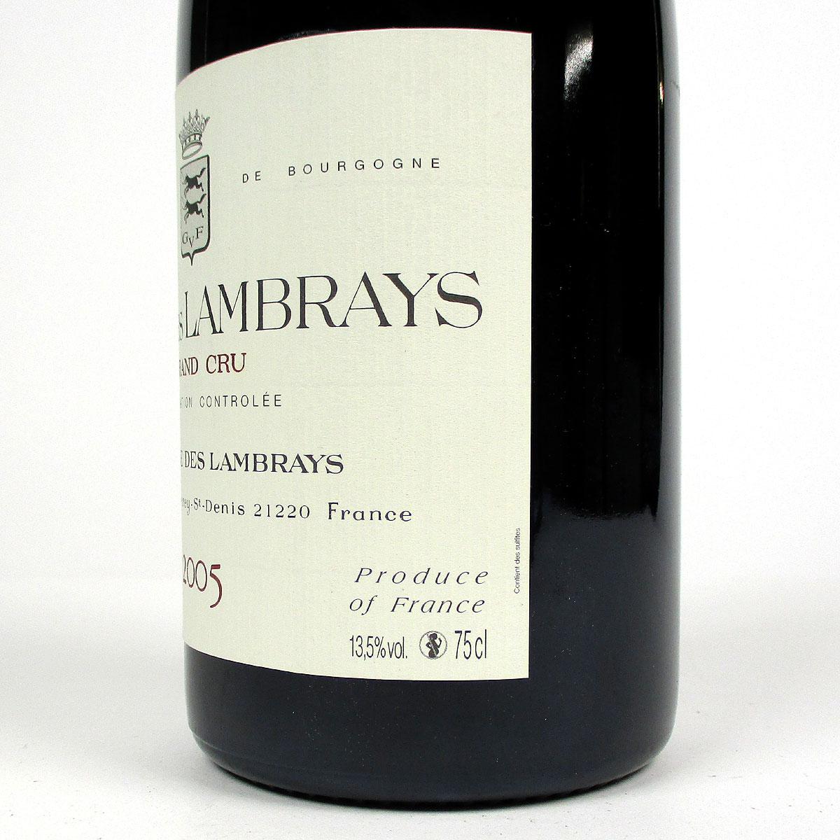 Clos des Lambrays: Domaine des Lambrays Grand Cru 2005 - Bottle Side Label