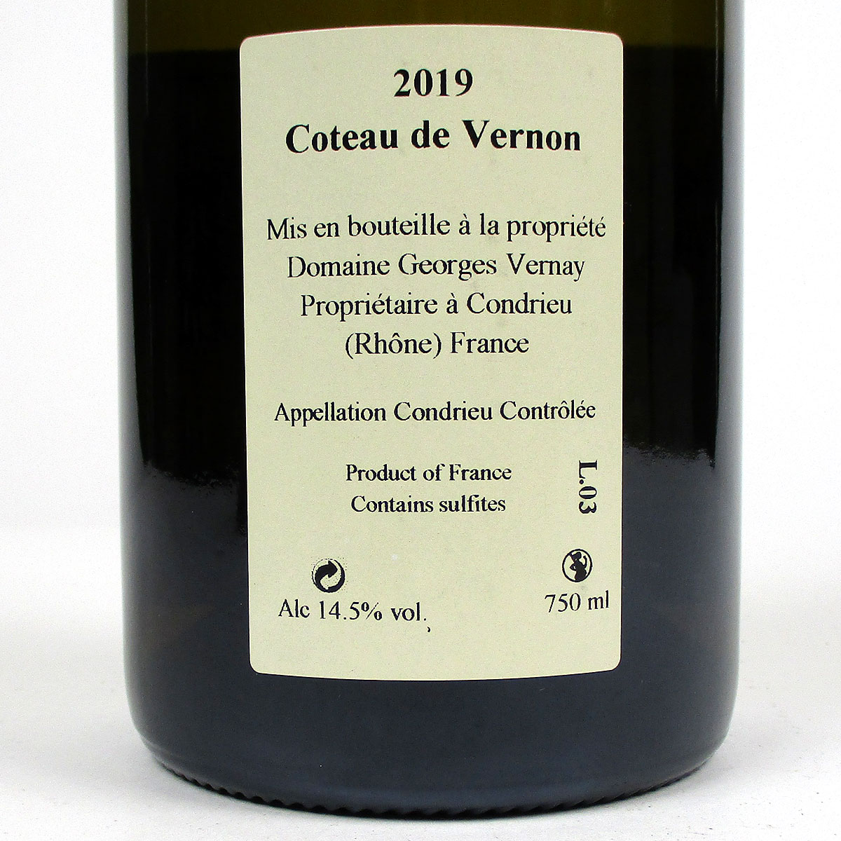 Condrieu: Domaine Georges Vernay 'Coteau de Vernon' 2019 - Bottle Rear Label