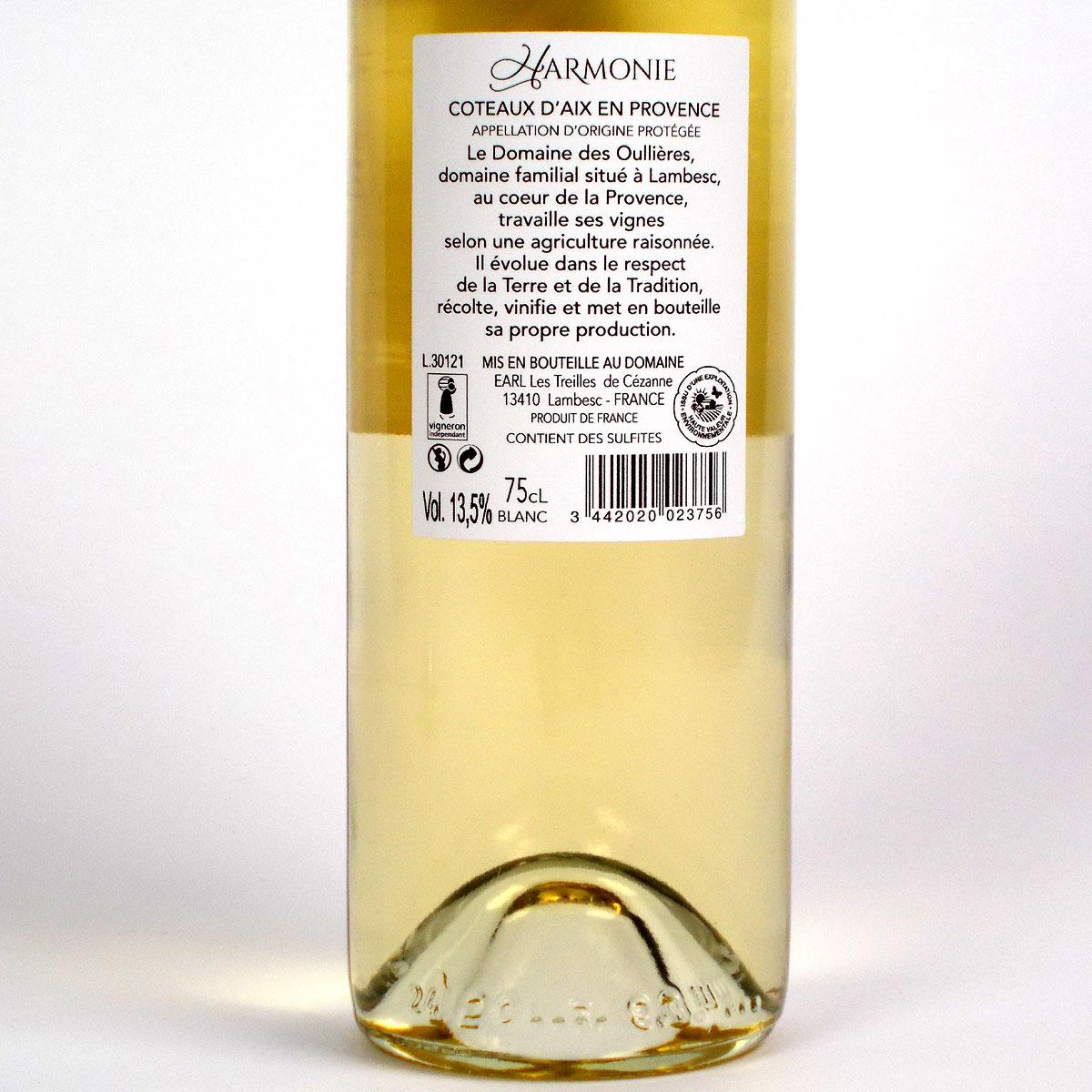 Coteaux d'Aix-en-Provence: Domaine des Oullières Blanc 2020 - Bottle Rear Label