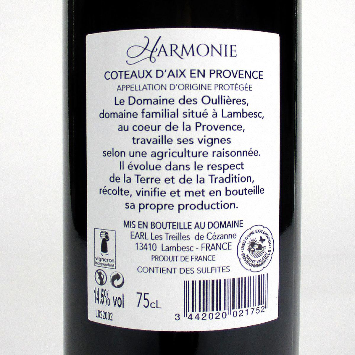Coteaux d'Aix-en-Provence: Domaine des Oullières Rouge 2018 - Bottle Rear Label
