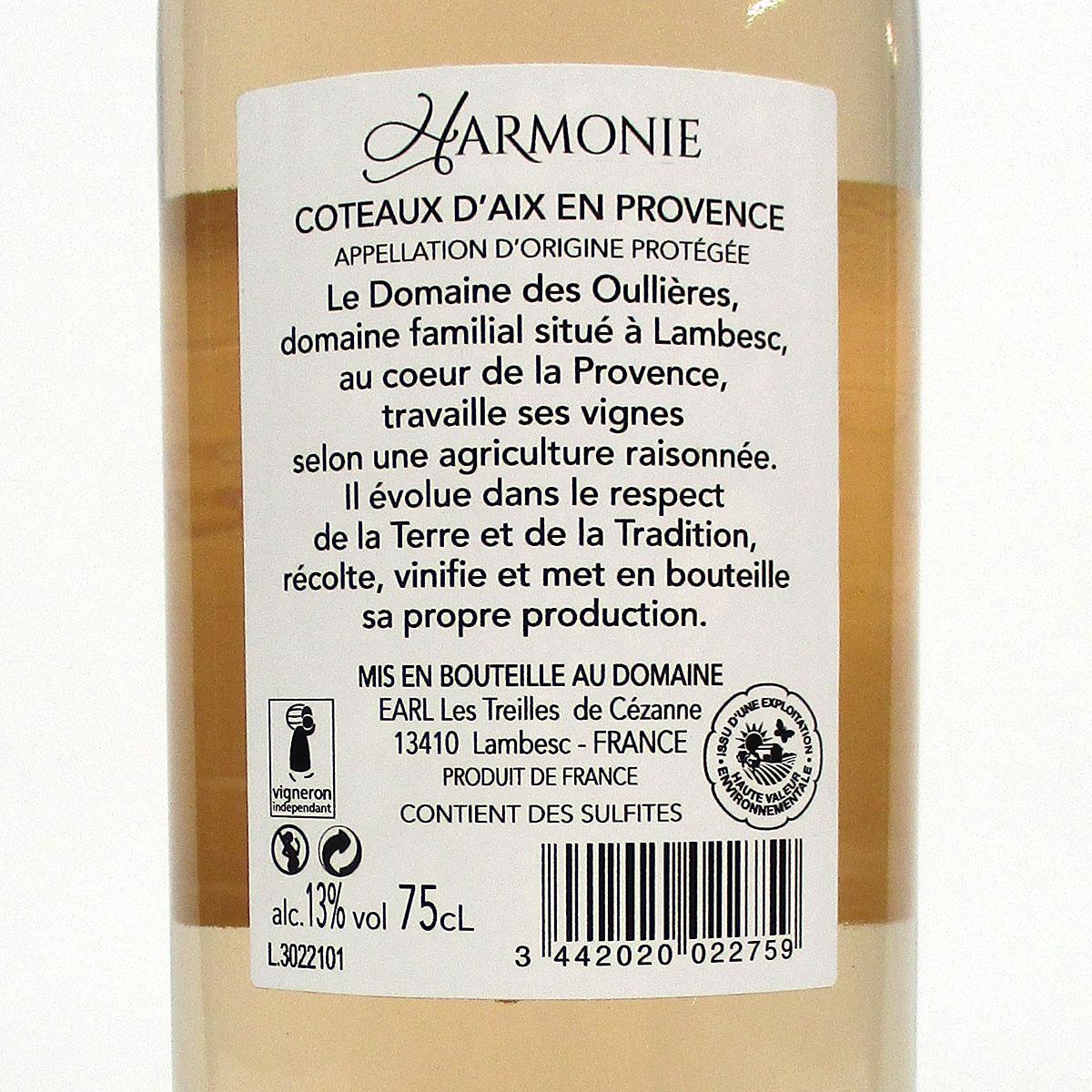 Coteaux d'Aix-en-Provence: Domaine des Oullières Rosé 2020 - Bottle Rear Label