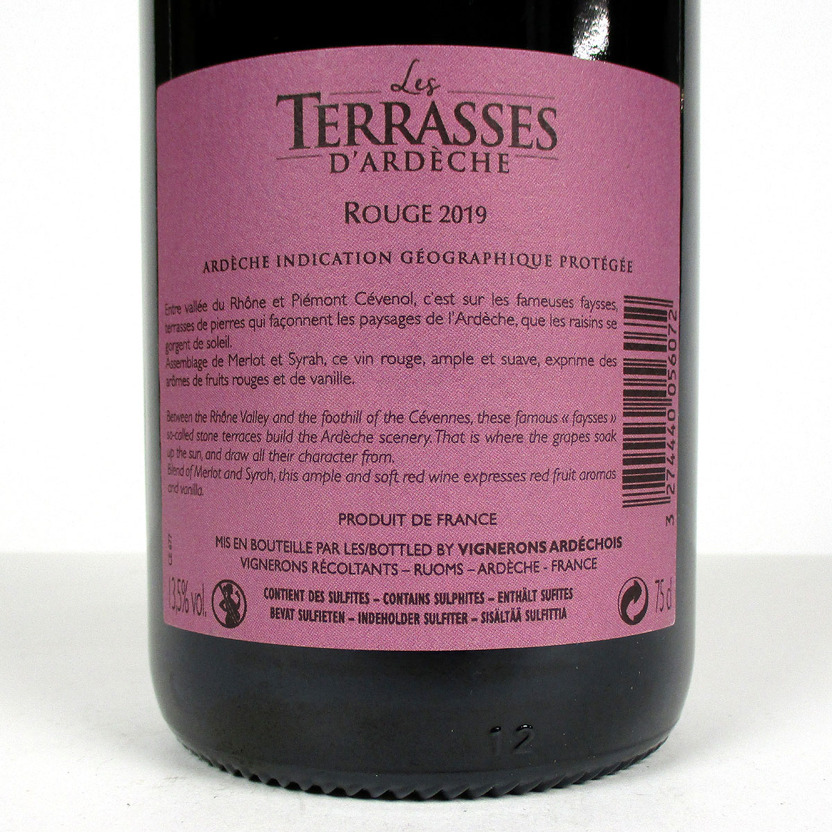 Coteaux de l'Ardèche: 'Les Terrasses' Rouge 2019 - Bottle Rear Label