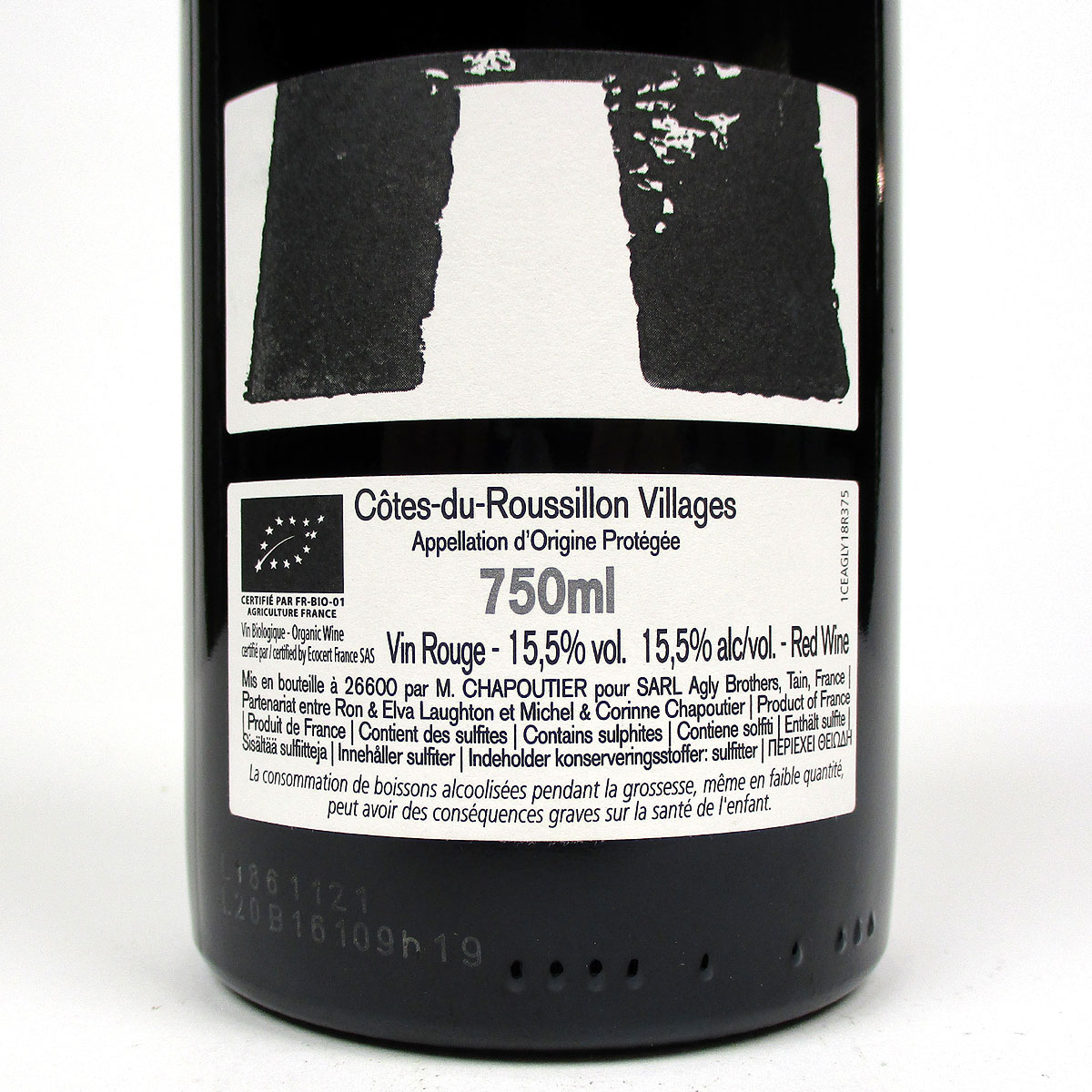 Côtes du Roussillon: Agly Brothers 2018 - Bottle Rear Label