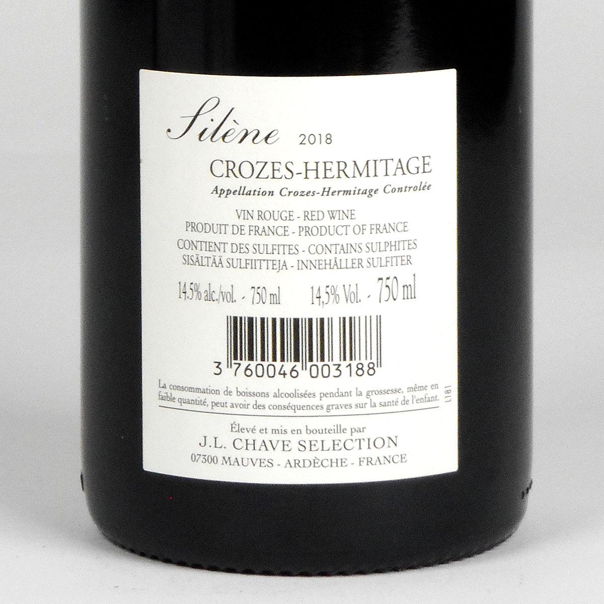 Crozes-Hermitage: Jean-Louis Chave Sélection 'Silène' 2018 - Bottle Rear Label