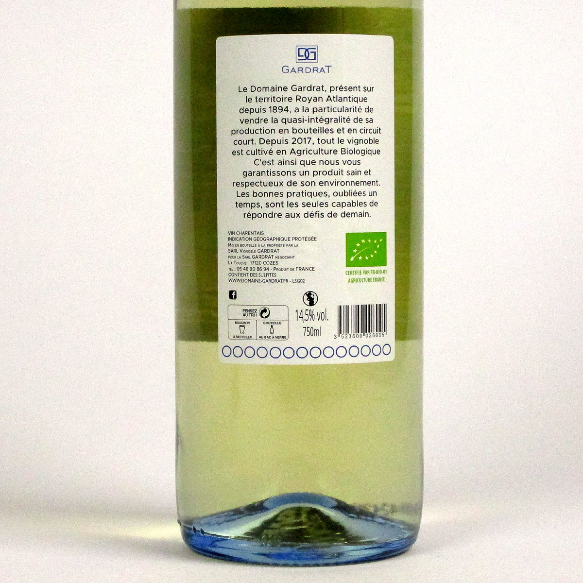 Domaine Gardrat: Vin de Pays Charentais Sauvignon 2020 - Bottle Rear Label