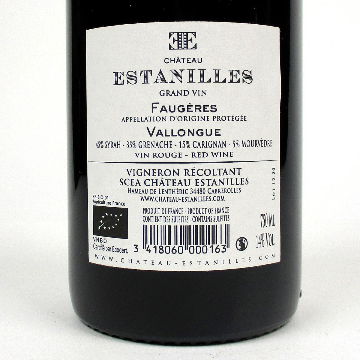Faugères: Château Estanilles 'Vallongue' Rouge 2019 - Bottle Rear Label