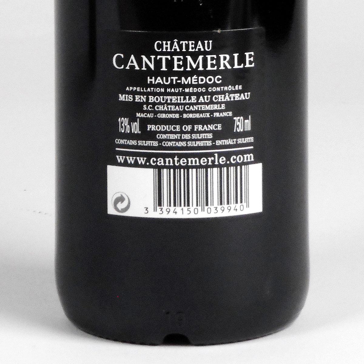 Haut-Médoc: Château Cantemerle 2012 - Bottle Rear Label