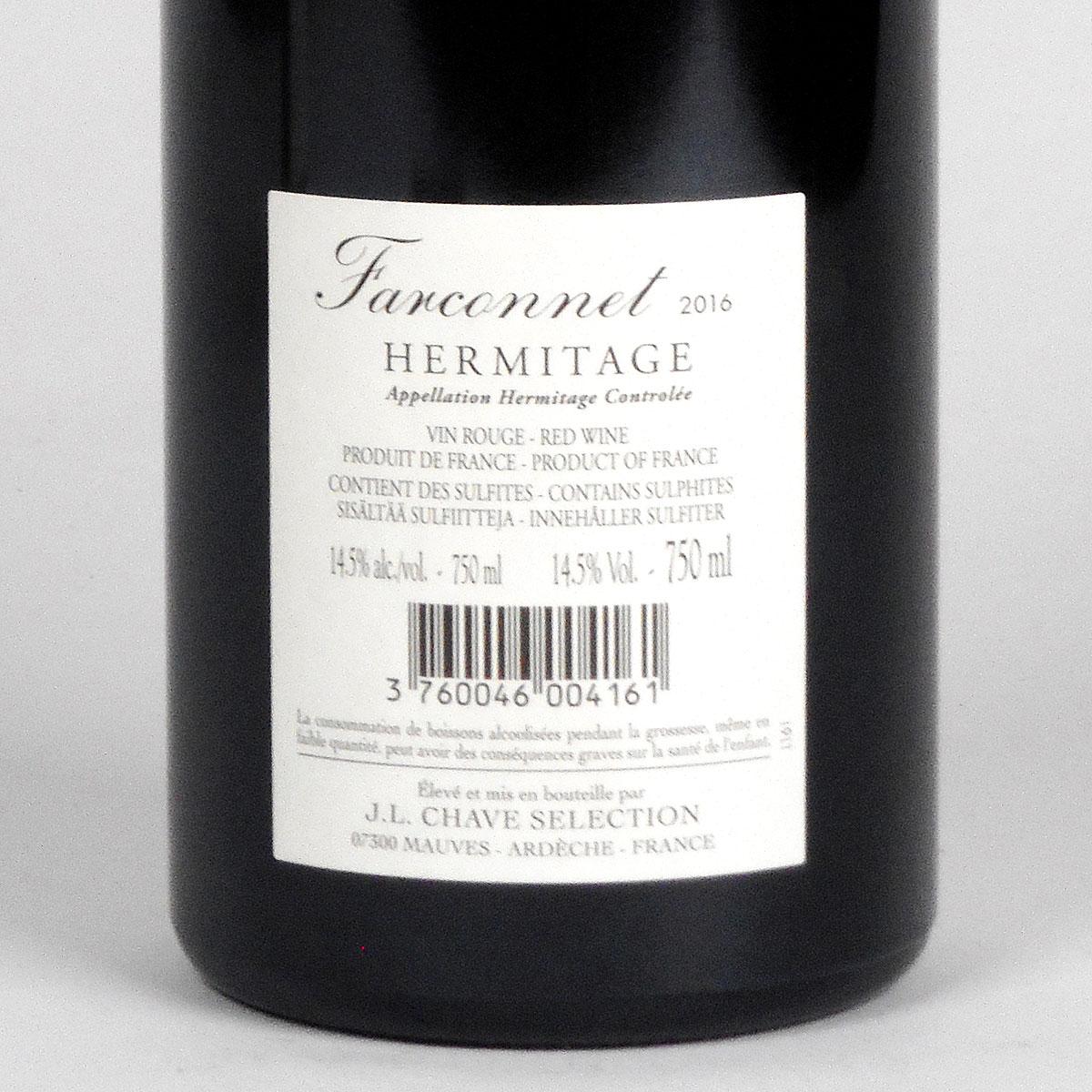 Hermitage: Jean-Louis Chave Sélection 'Farconnet' Rouge 2016 - Bottle Rear Label