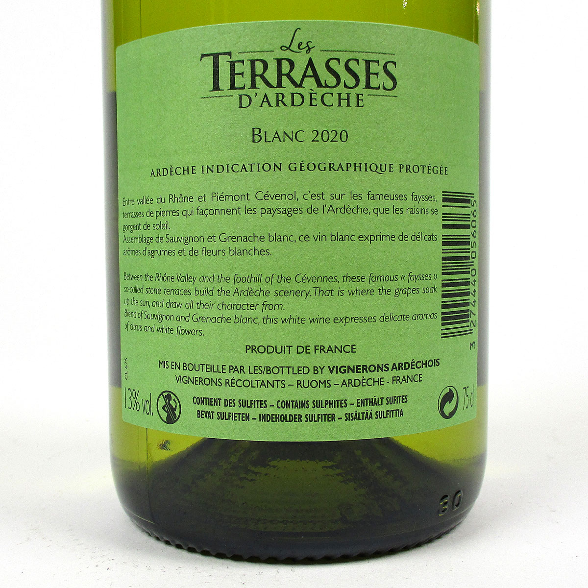 IGP Ardèche: Vignerons Ardéchois 'Les Terrasses' Blanc 2020 - Bottle Rear Label
