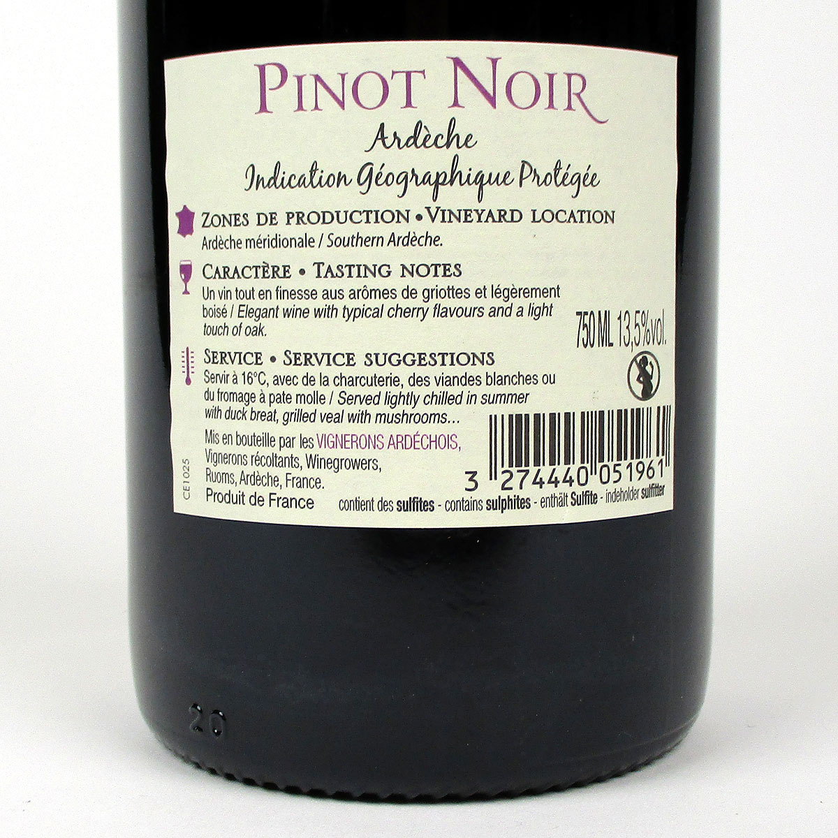 IGP Ardèche: Vignerons Ardéchois Pinot Noir 2019 - Bottle Rear Label