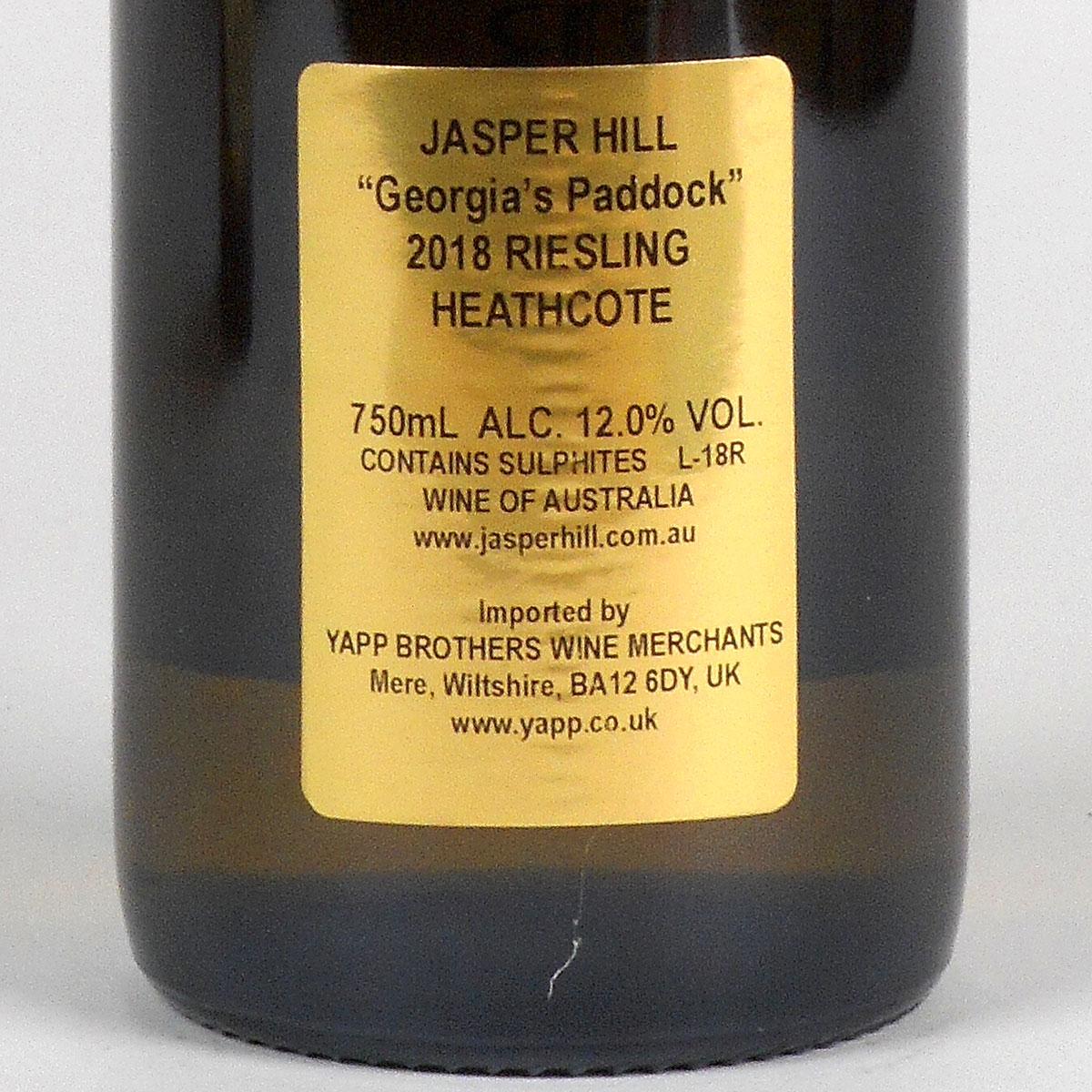 Jasper Hill: Georgia's Paddock Riesling 2018 - Bottle Rear Label