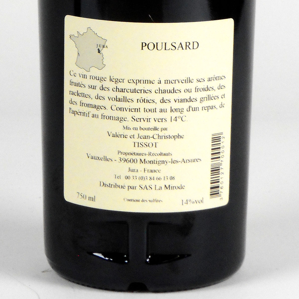 Jura Arbois: Poulsard Domaine Jean-Louis Tissot 2018 - Bottle Rear Label