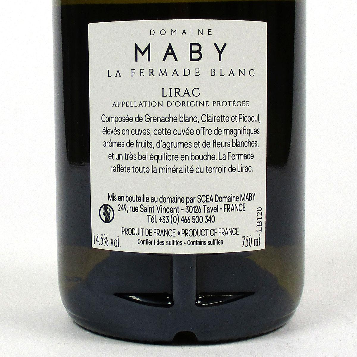 Lirac: Domaine Maby 'La Fermade' Blanc 2020 - Bottle Rear Label