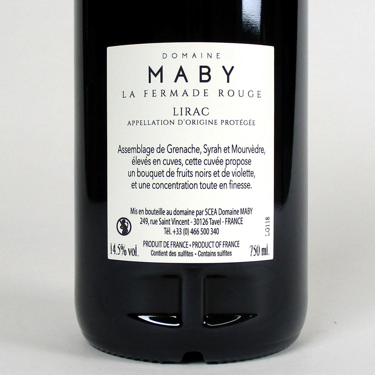 Lirac: Domaine Maby 'La Fermade' Rouge 2018 - Bottle Rear Label