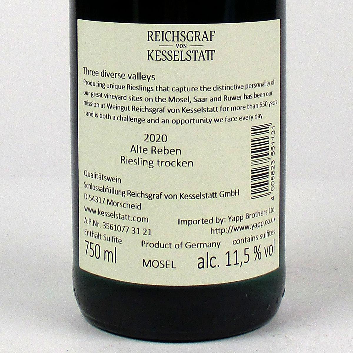 Mosel: Reichsgraf von Kesselstatt Alte Reben Trocken Riesling 2020 - Bottel Rear Label