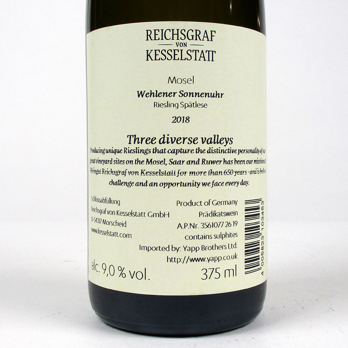 Mosel: Reichsgraf von Kesselstatt Wehlener Sonnenuhr Spätlese 2018 - Bottle Rear Label