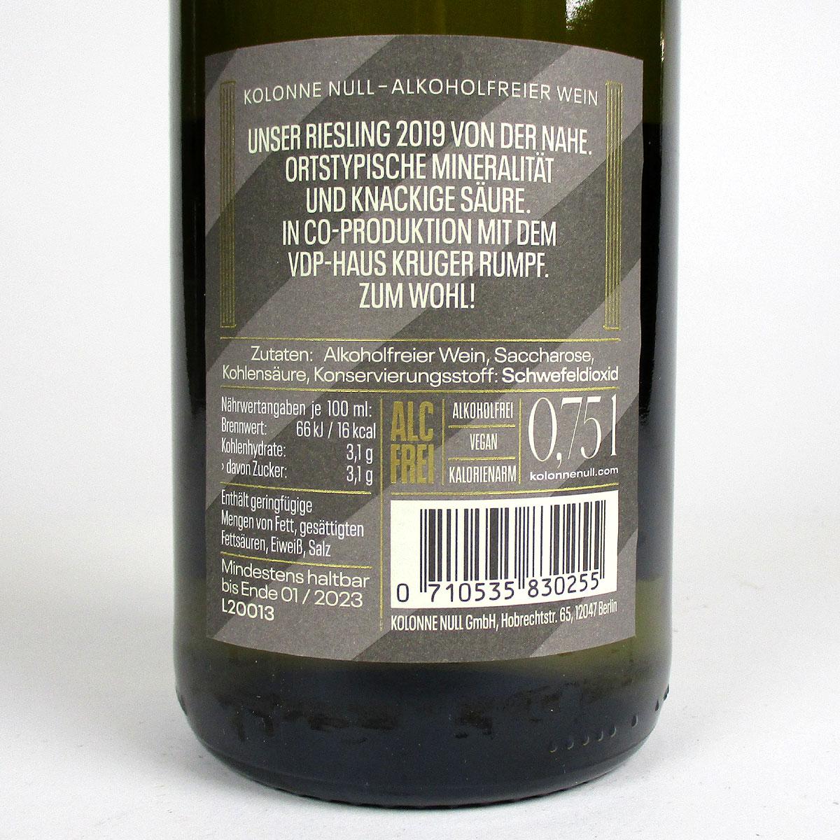 Nahe: Weingut Kruger-Rumpf 'Kolonne Null' Riesling 2019 - Bottle Rear Label