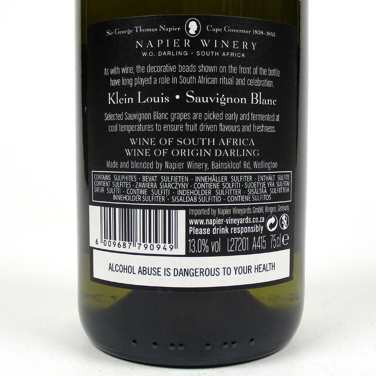Napier Winery: 'Klein Louis' Sauvignon Blanc 2020 - Bottle rear Label