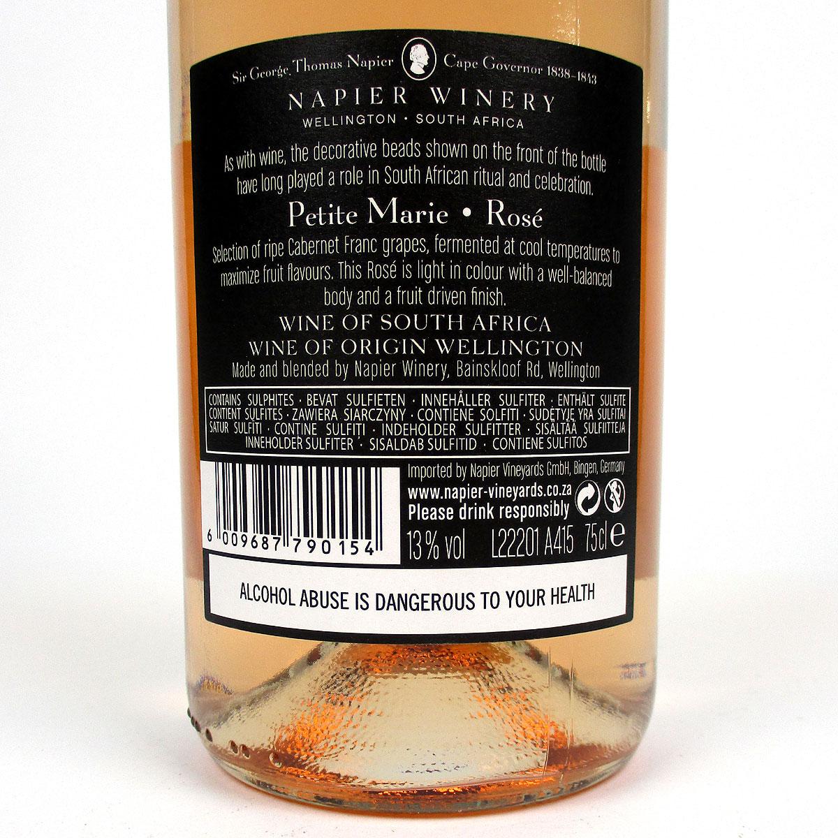 Napier Winery: 'Petite Marie' Rosé 2020 - Bottle Rear Label