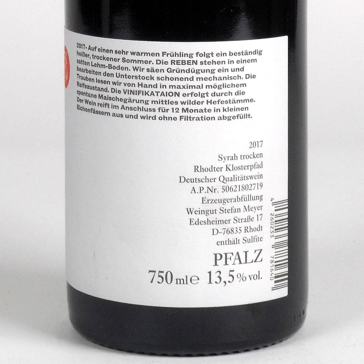 Pfalz: Stefan Meyer 'Rhodter Klosterpfad' Syrah 2017 - Bottle Rear Label