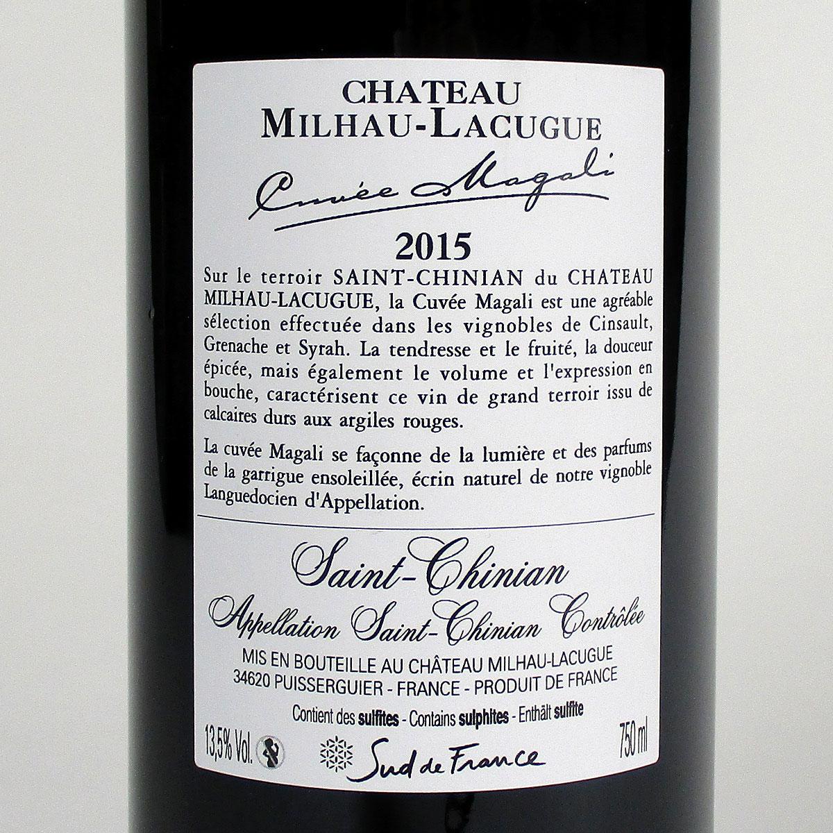 Saint-Chinian: Château Milhau-Lacugue 'Cuvée Magali' 2015 - Bottle Rear Label