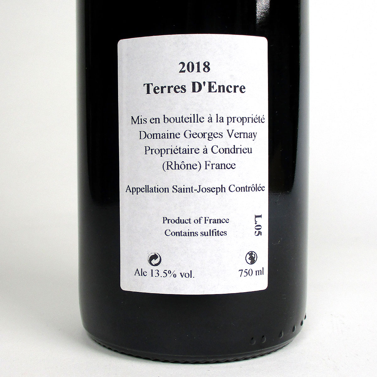 Saint-Joseph: Domaine Georges Vernay 'Terres d'Encre' 2018 - Bottle Rear Label