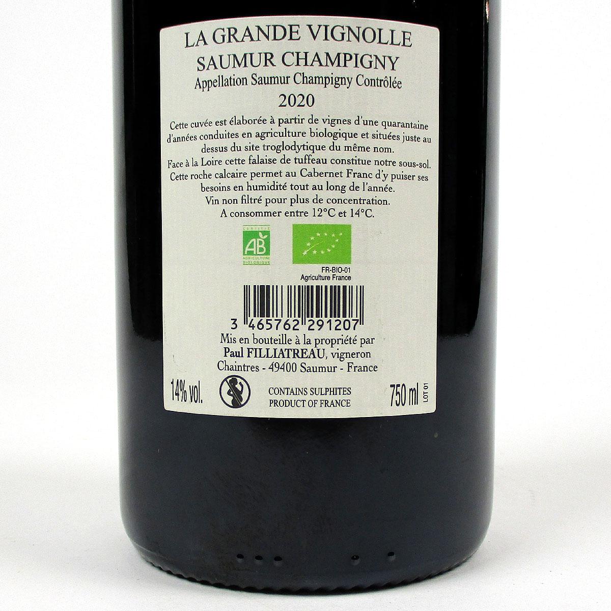 Saumur Champigny: Domlaine Filliatreau 'La Grande Vignolle' 2020 - Bottle Rear Label