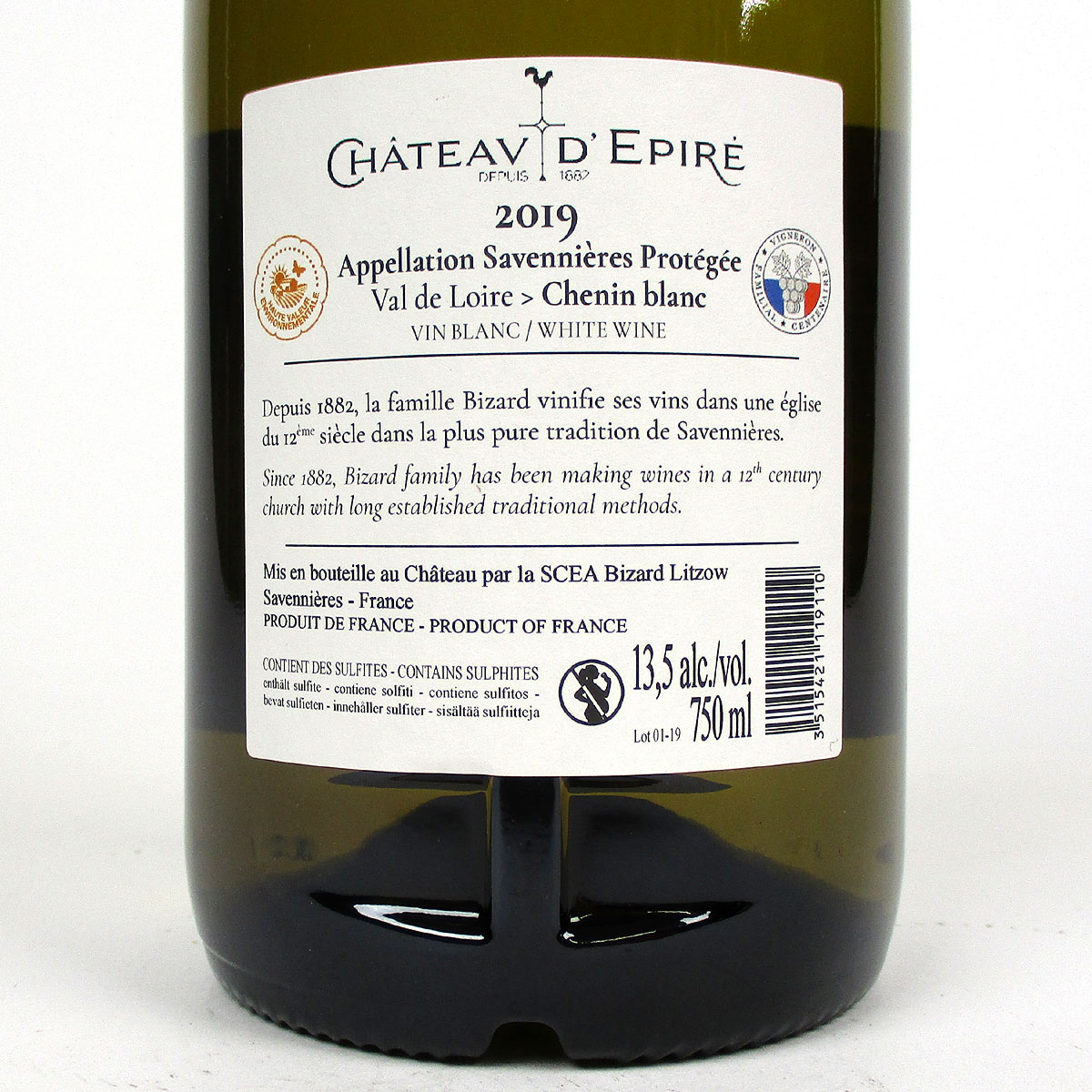 Savennières: Château d'Epiré 'Le Parc' Sec 2019 - Bottle Rear Label
