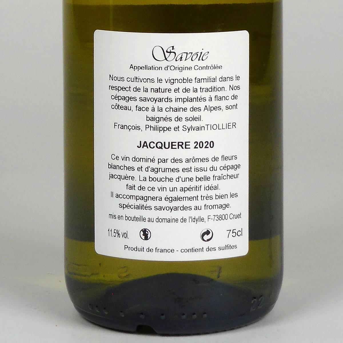 Savoie: Domaine de L'Idylle Jacquère 2020 - Bottle Rear Label
