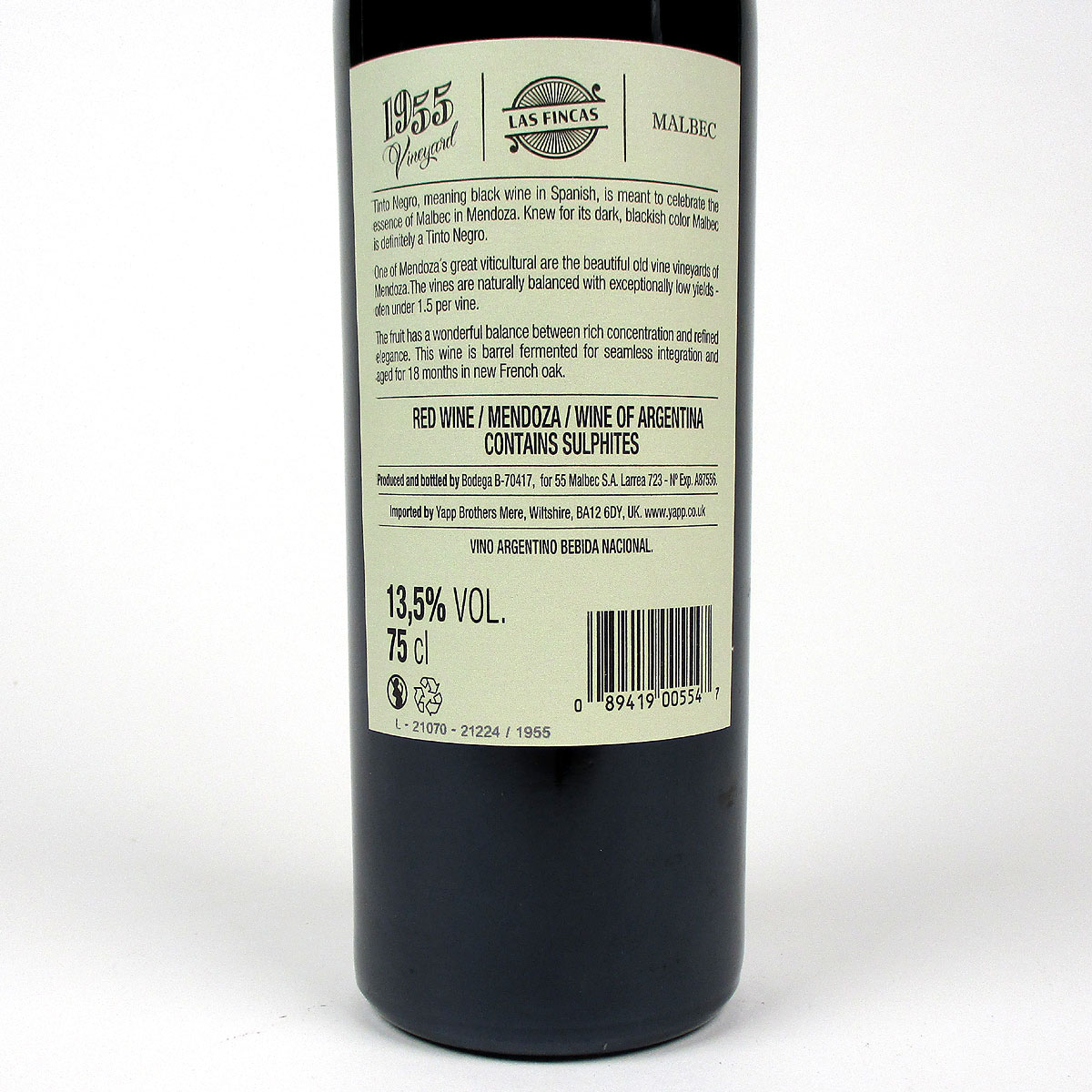 Tinto Negro: Uco Valley Mendoza Malbec 'Vineyard 1955' 2018 - Bottle Rear Label