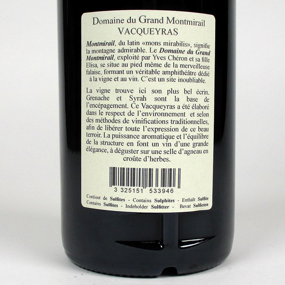 Vacqueyras: Domaine du Grand Montmirail 2019 - Bottle Rear Label