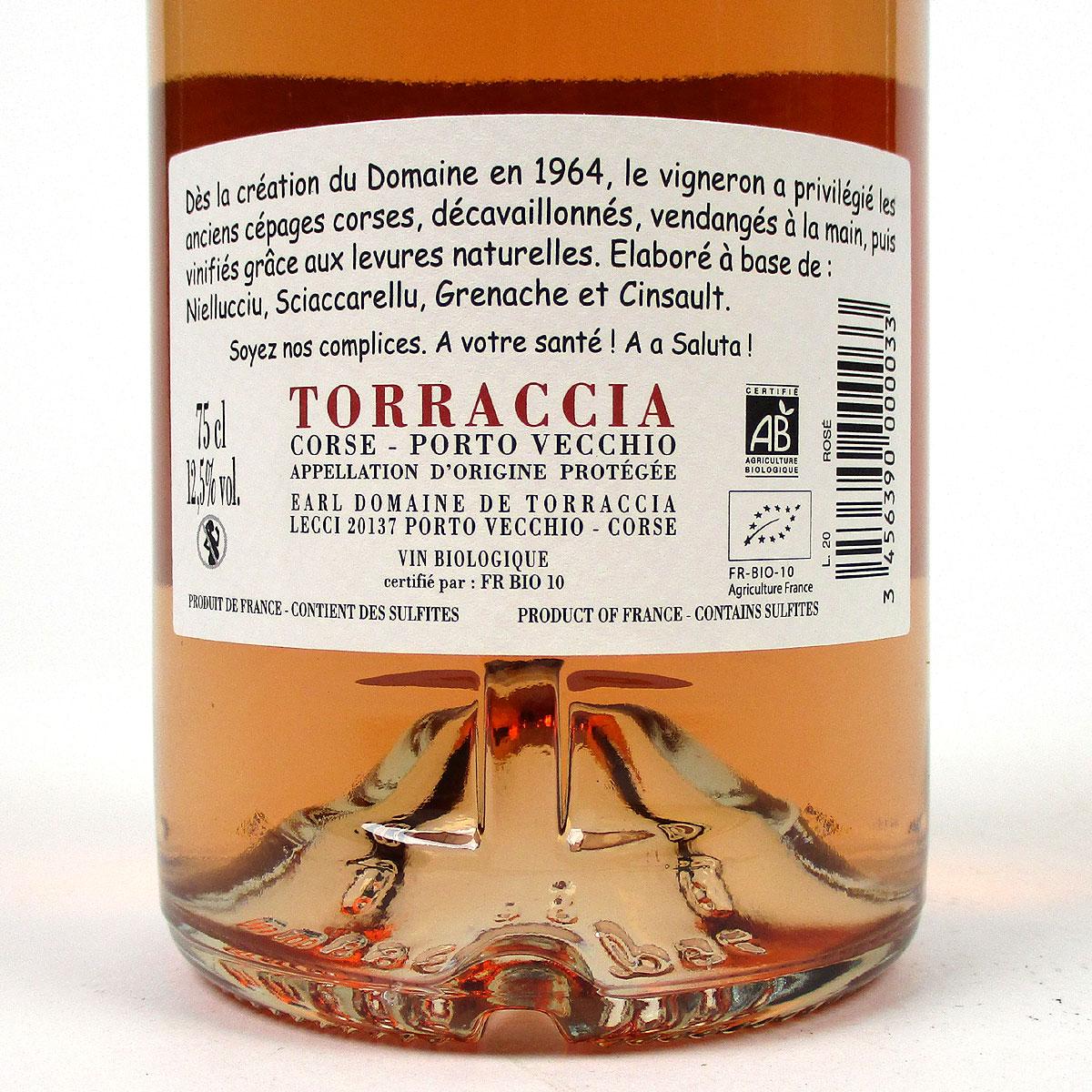 Vin de Corse Porto Vecchio: Domaine de Torraccia Rosé 2020 - Bottle Rear Label
