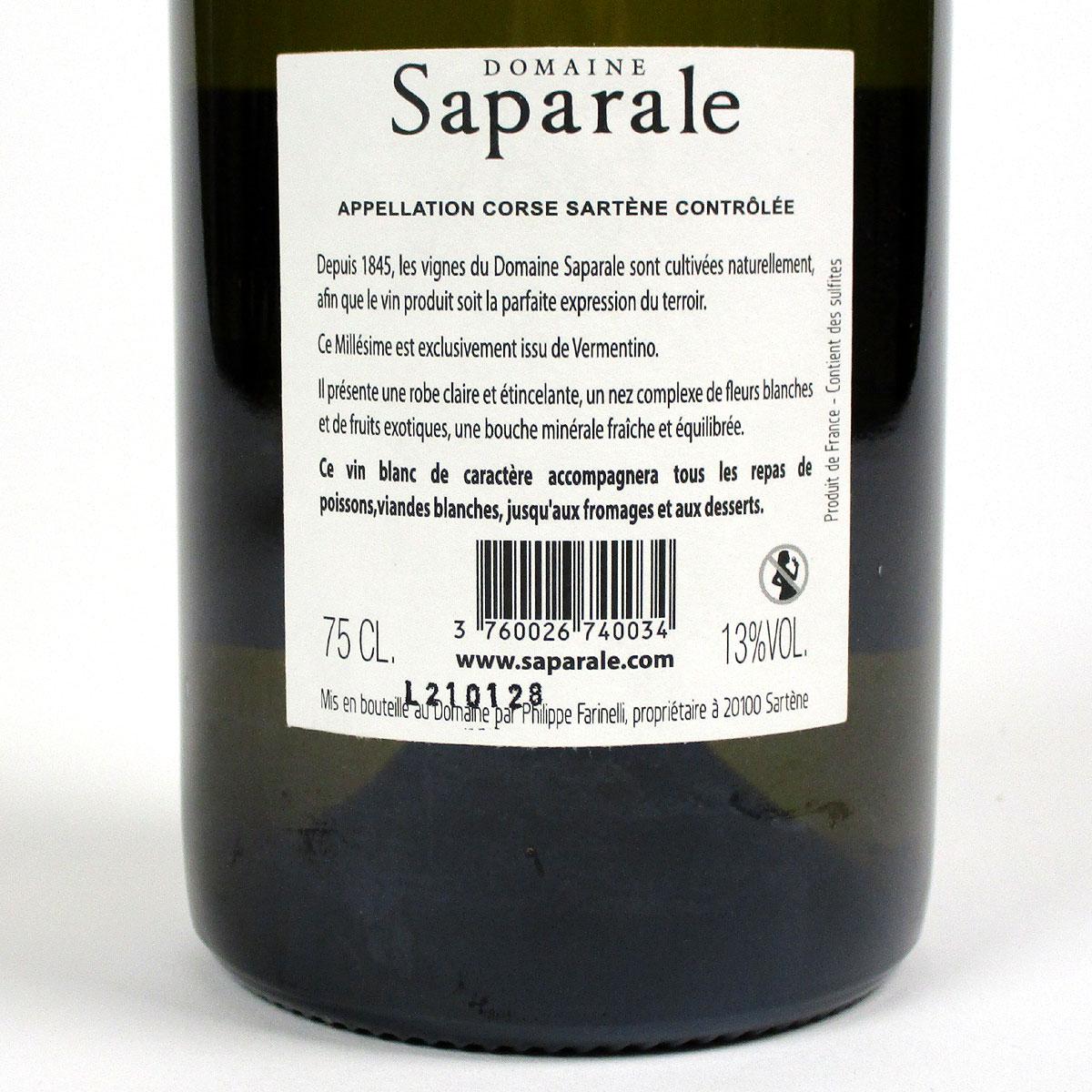 Vin de Corse Sartène Blanc: Domaine Saparale 2020 - Bottle Rear Label