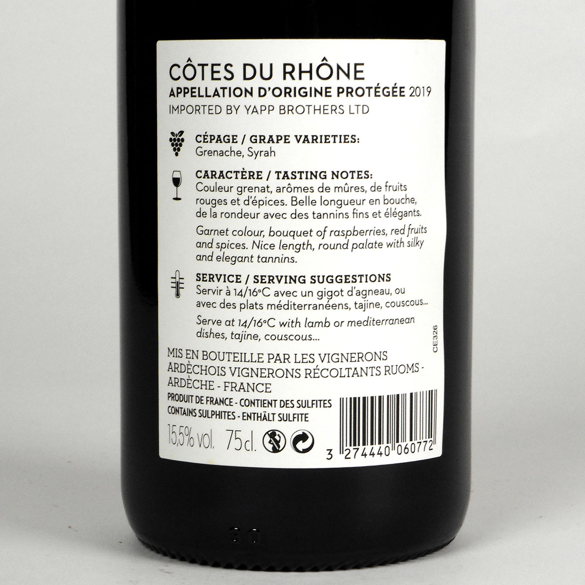 Yapp Côtes du Rhône Red 2019 - Bottle Rear Label