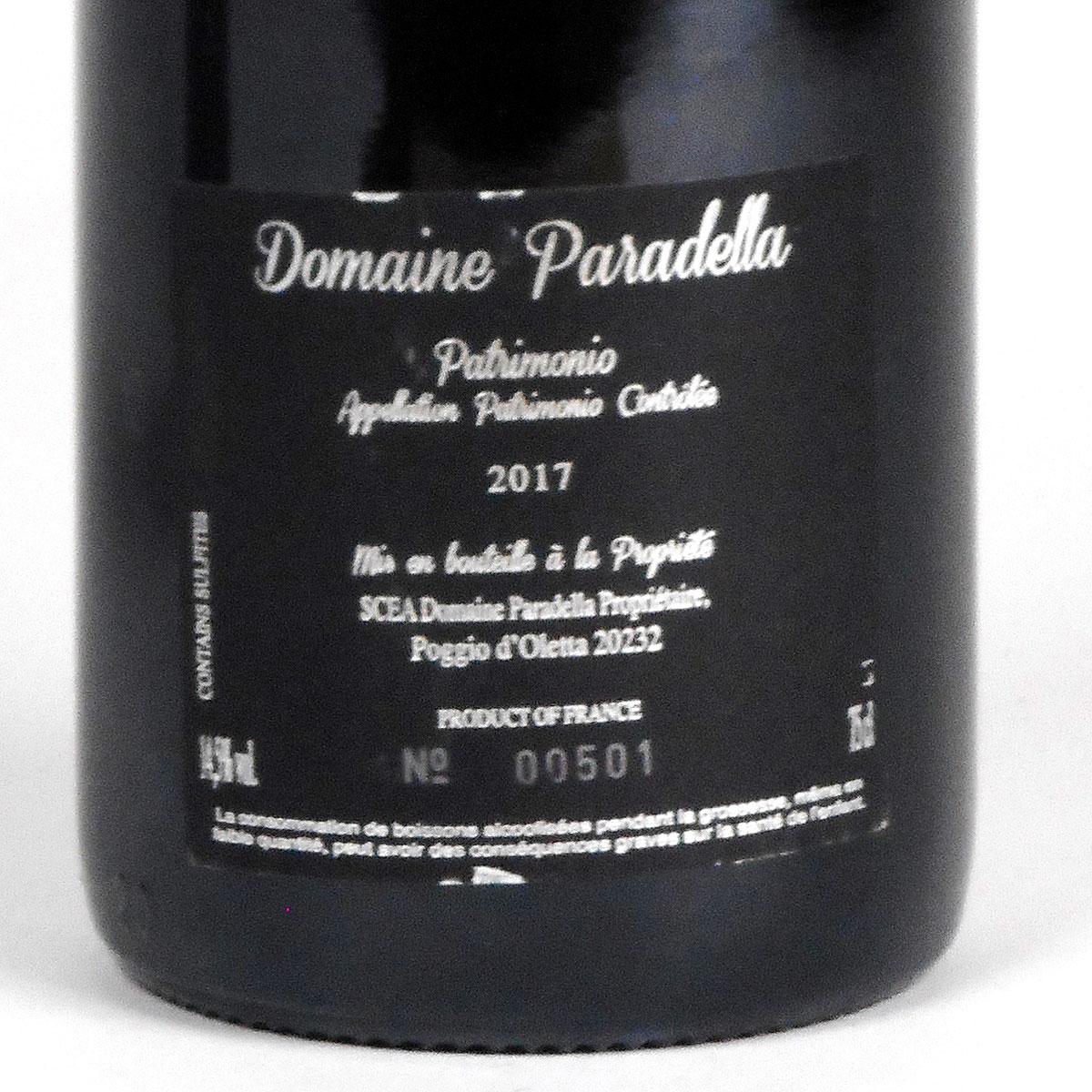 AOC Patrimonio: Domaine Paradella Rouge 2017 - Bottle Rear Label