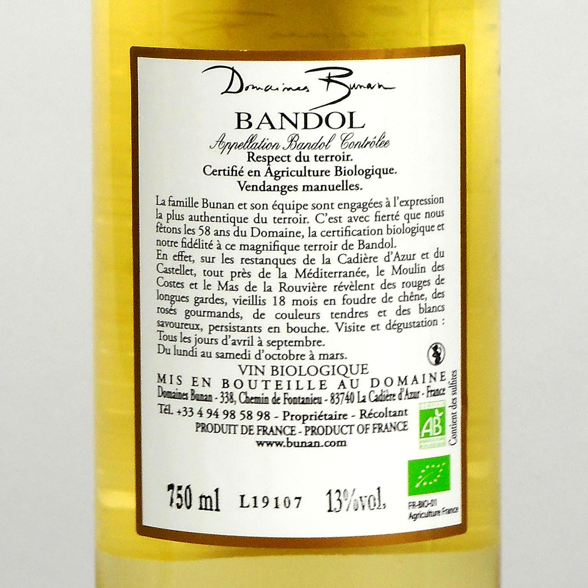 Bandol: Mas de la Rouvière Blanc 2019 - Bottle Rear Label