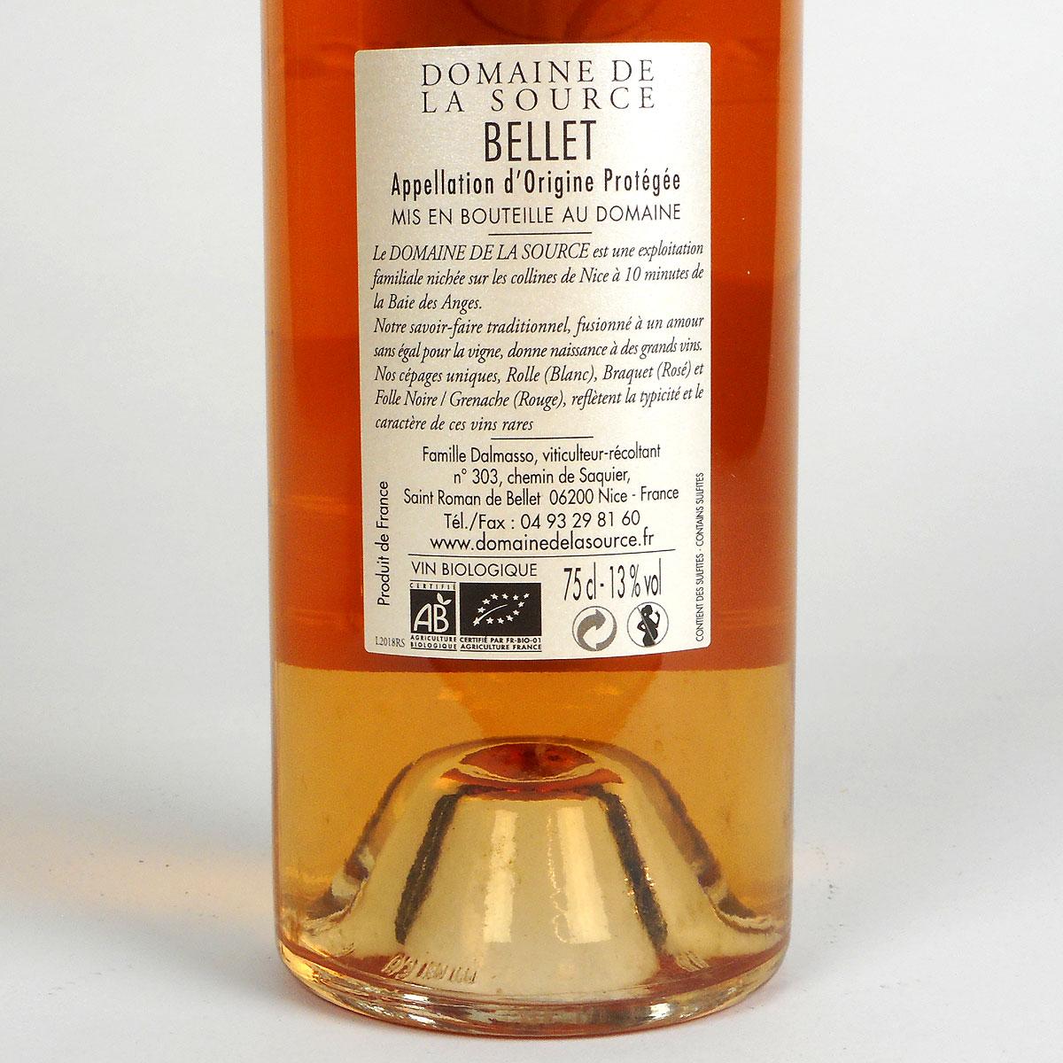 Bellet: Domaine de la Source Rosé 2018 - Bottle Rear Label