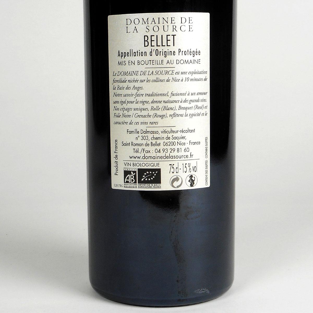 Bellet: Domaine de la Source Rouge 2017 - Bottle Rear Label