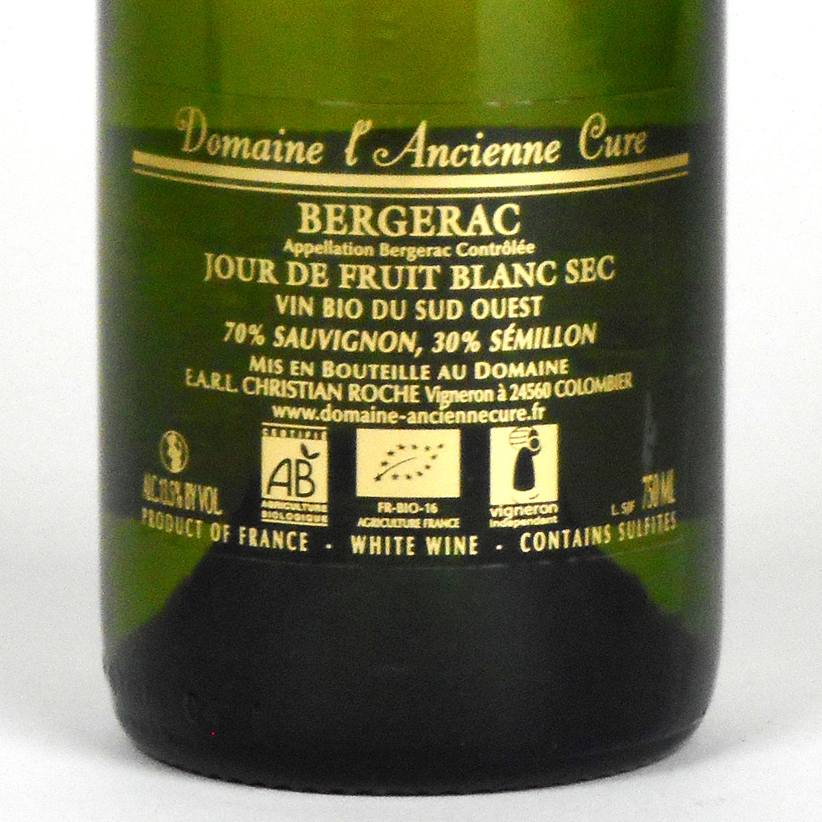 Bergerac: Domaine l'Ancienne Cure 'Jour de Fruit' Blanc Sec 2019 - Wine Bottle Rear Label