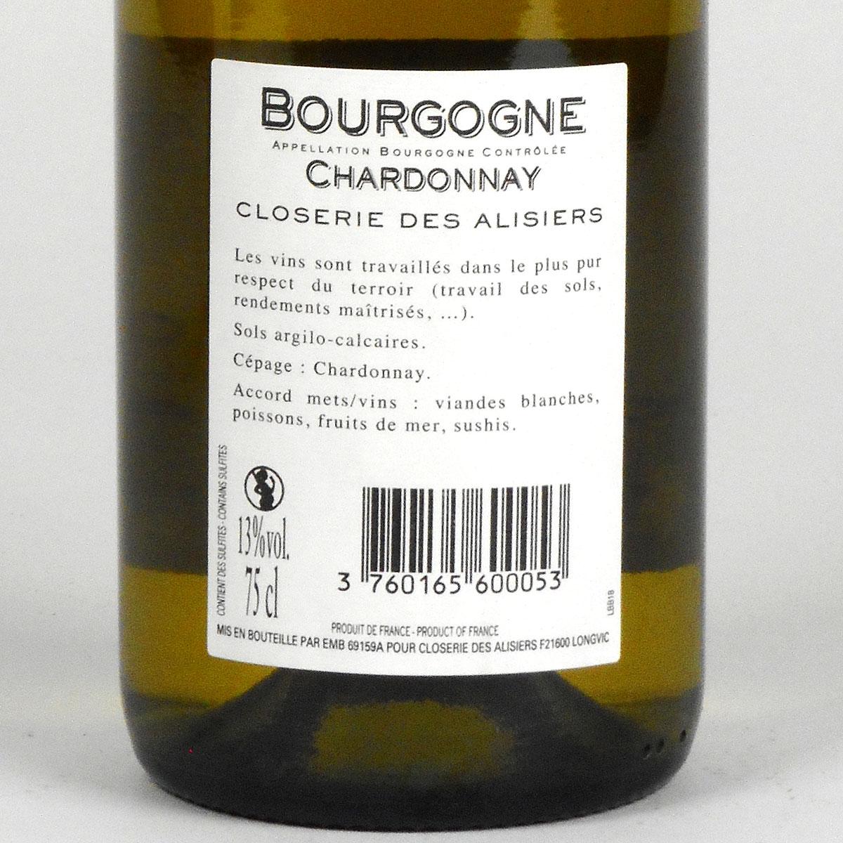 Bourgogne Chardonnay: Closerie des Alisiers 2018 - Bottle Rear Label