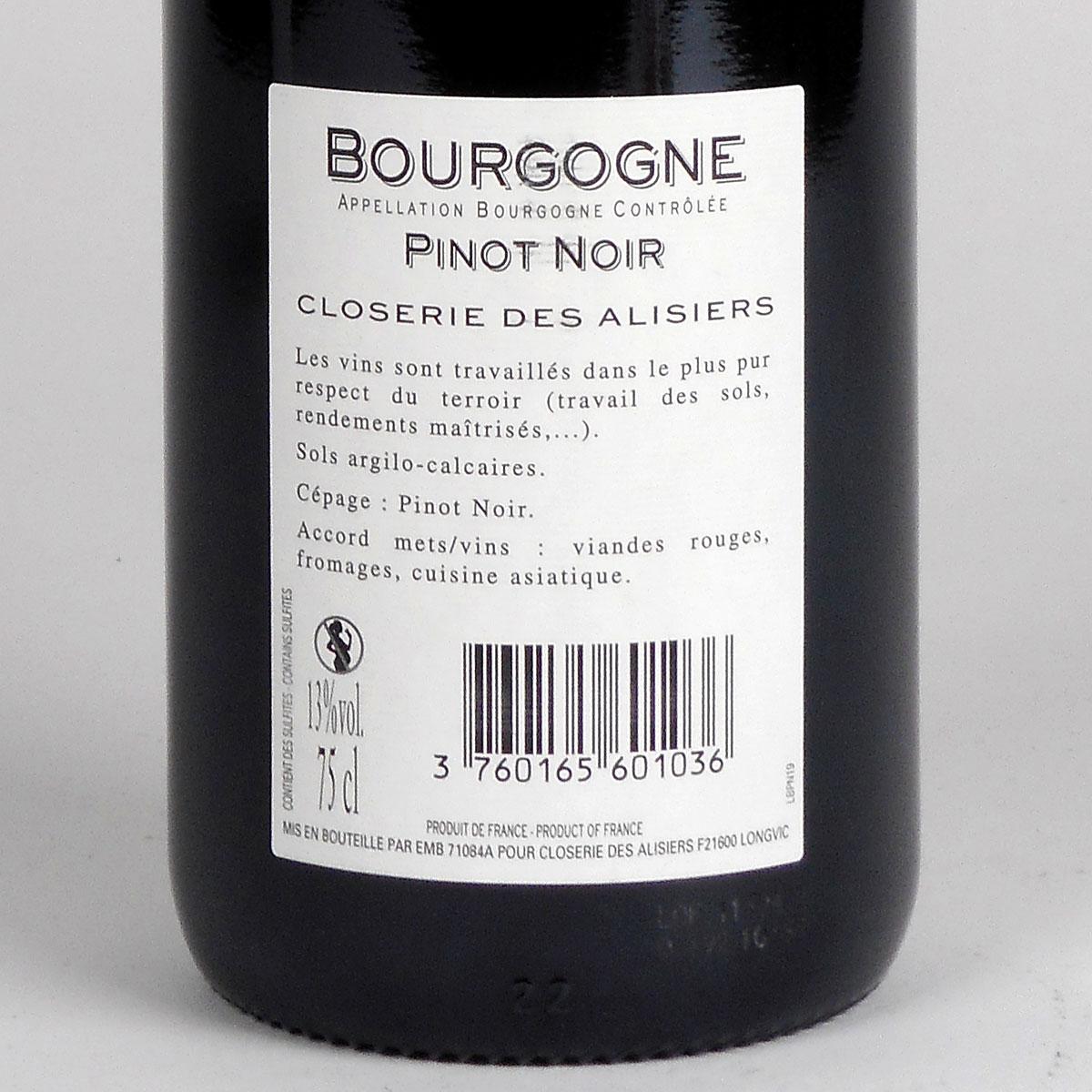 Bourgogne Pinot Noir: Closerie des Alisiers 2019 - Bottle Rear Label