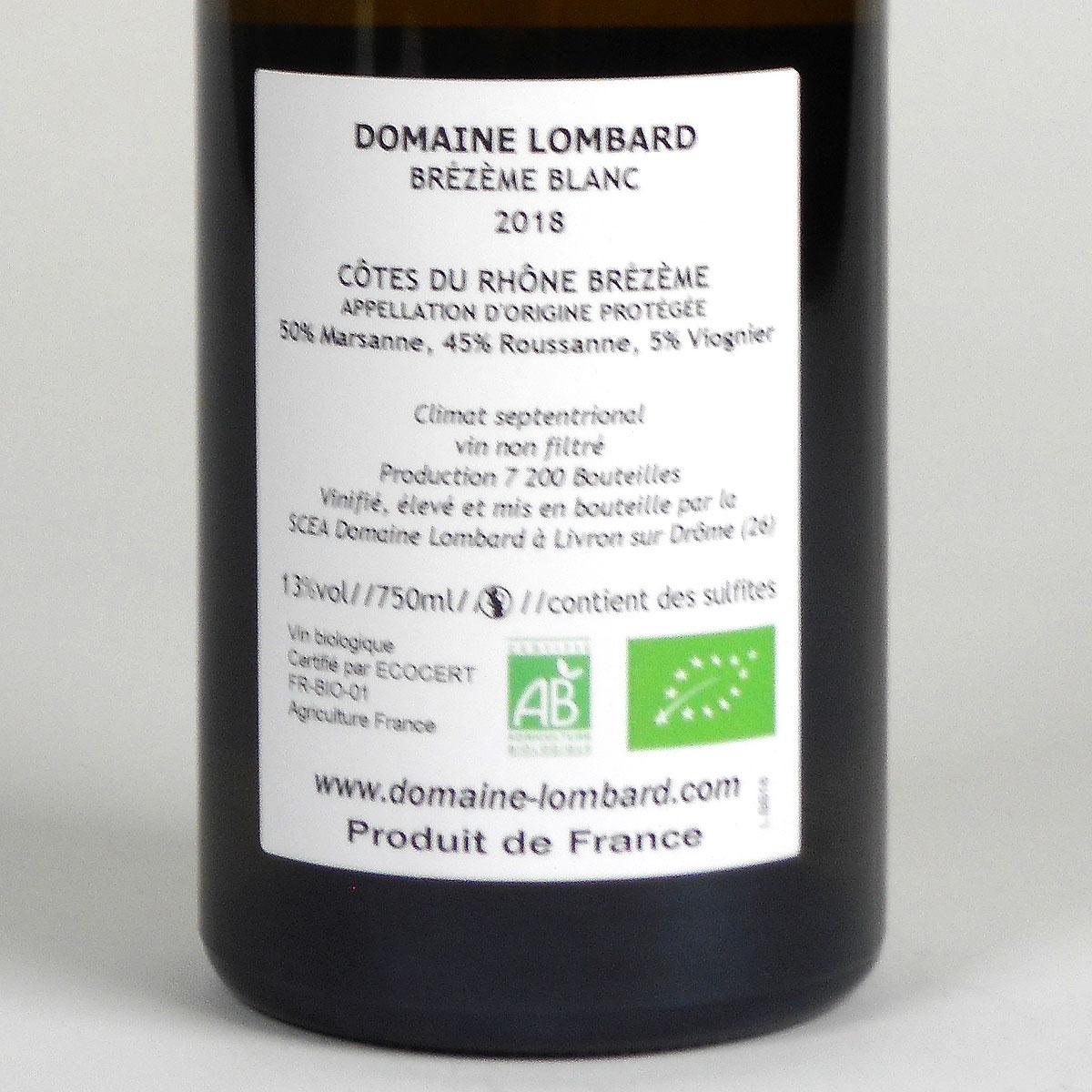 Brézème: Domaine Lombard Blanc 2018 - Bottle Rear Label