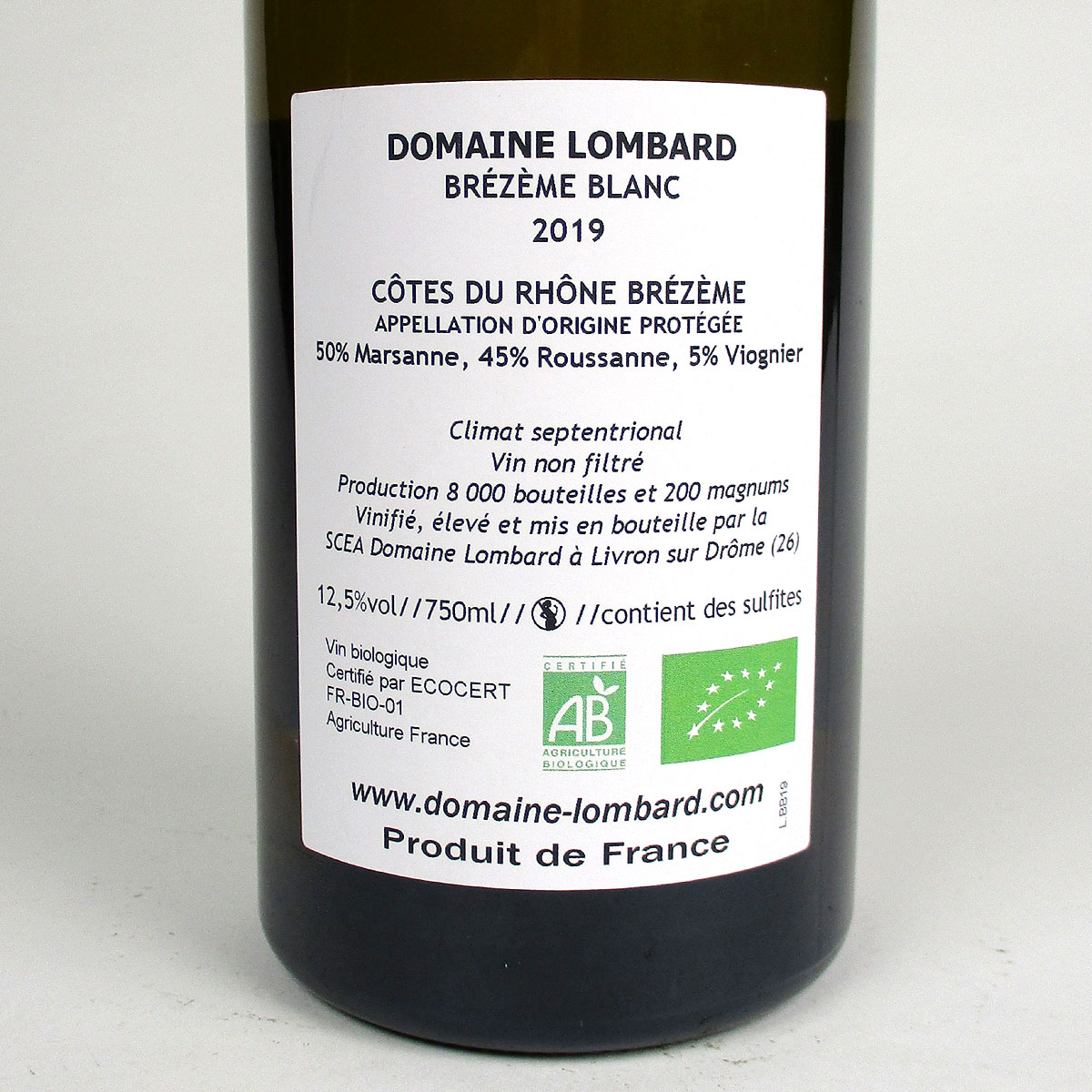 Brézème: Domaine Lombard Blanc 2019 - Bottle Rear Label